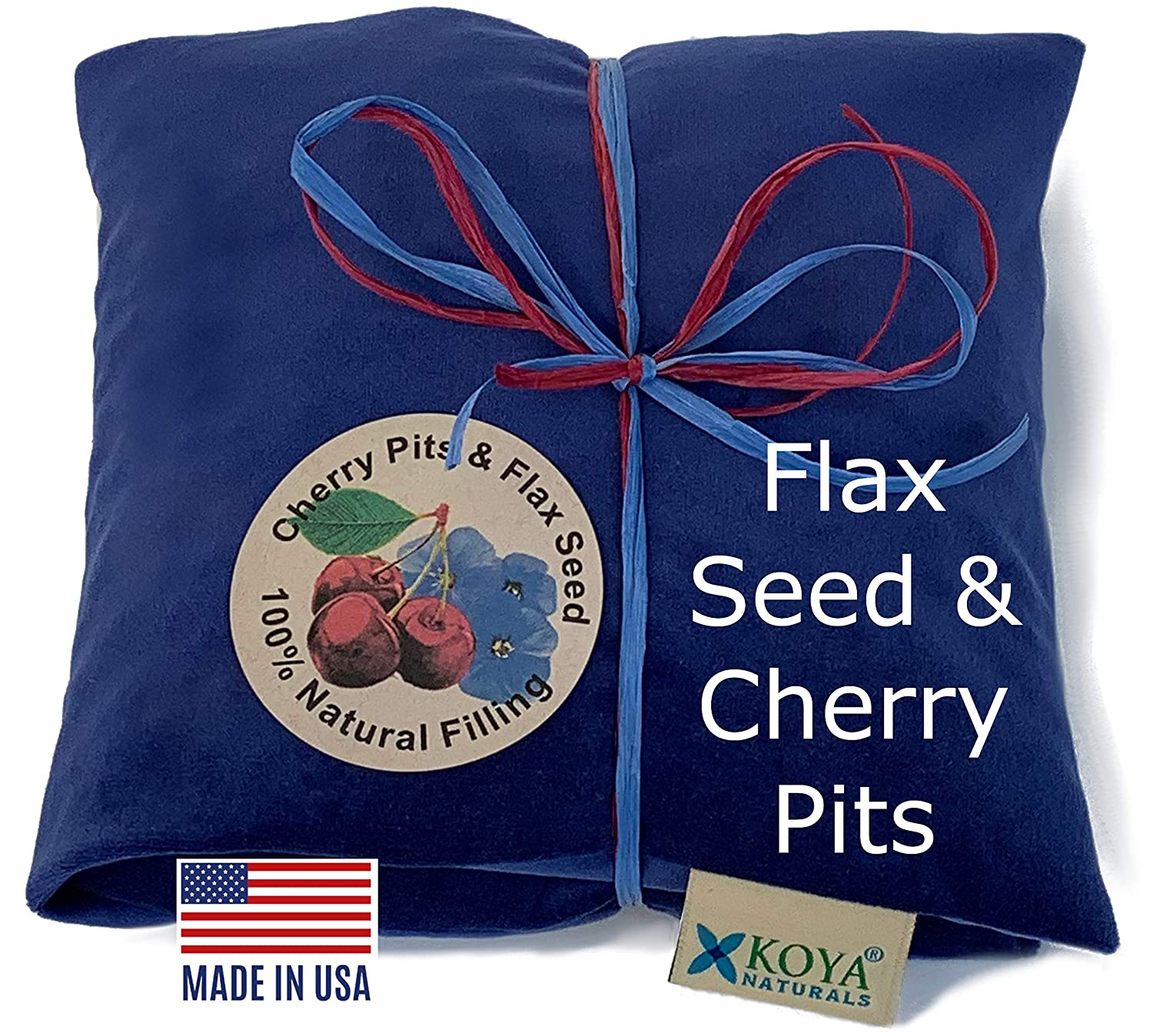 KOYA Naturals Comfort-Mix Flax Seed & Cherry Pit Pillow – Microwavable - for Neck, Muscle, Joint, Stomach Pain, Menstrual Cramp - Soft Velvet - Heat Pack Pad - Made in USA