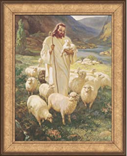 sallman classic christian art of christ shepherd holding lamb framed for wall display gift