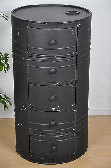 CALUTEA Design Ölfass Aus Holz In Metalloptik Als Runde Kommode Im Industrie  Stil Mit Usedlook Rosteffekt