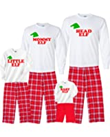 Personalized Family of Elves Matching Flannel Oufits for the Whole Family