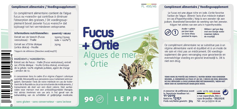 Leppin - Complemento alimenticio natural: 90 cápsulas vegetales de fucus y ortiga, aporte de iodo natural para hipotiroidismo, alta biodisponibilidad: ...