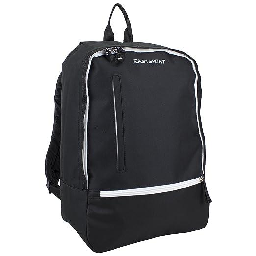 6511e6b01e Eastsport Everyday Backpack with Secure Zipper Pulls (Black/White Trim)