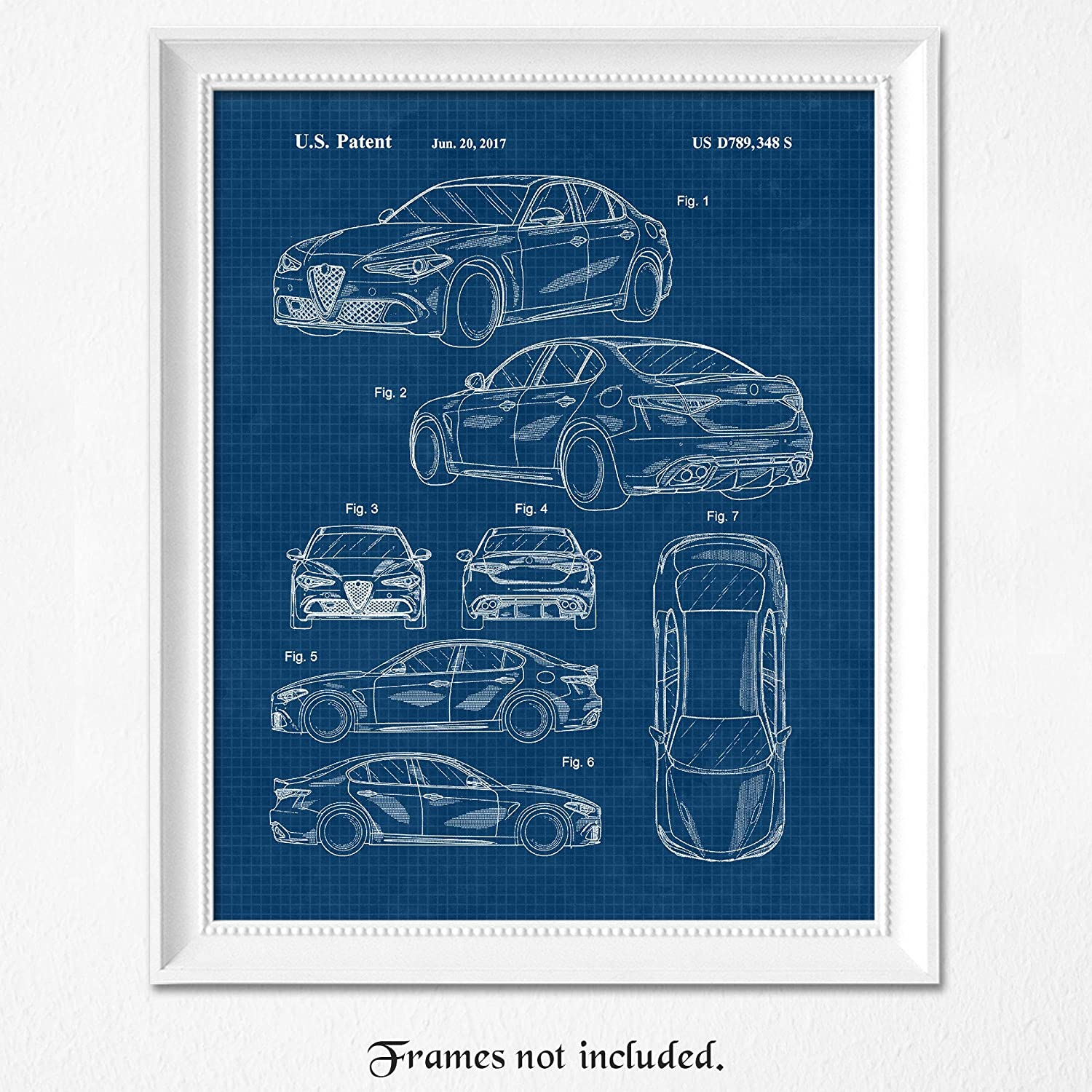 Vintage Alfa Romeo Giulia Blue Patent Poster Prints, Set of 1 (8x10) Unframed Photo, Wall Art Decor Gifts Under 15 for Home, Office, Man Cave, College Student, Teacher, Coach, Italy Cars & Coffee Fan