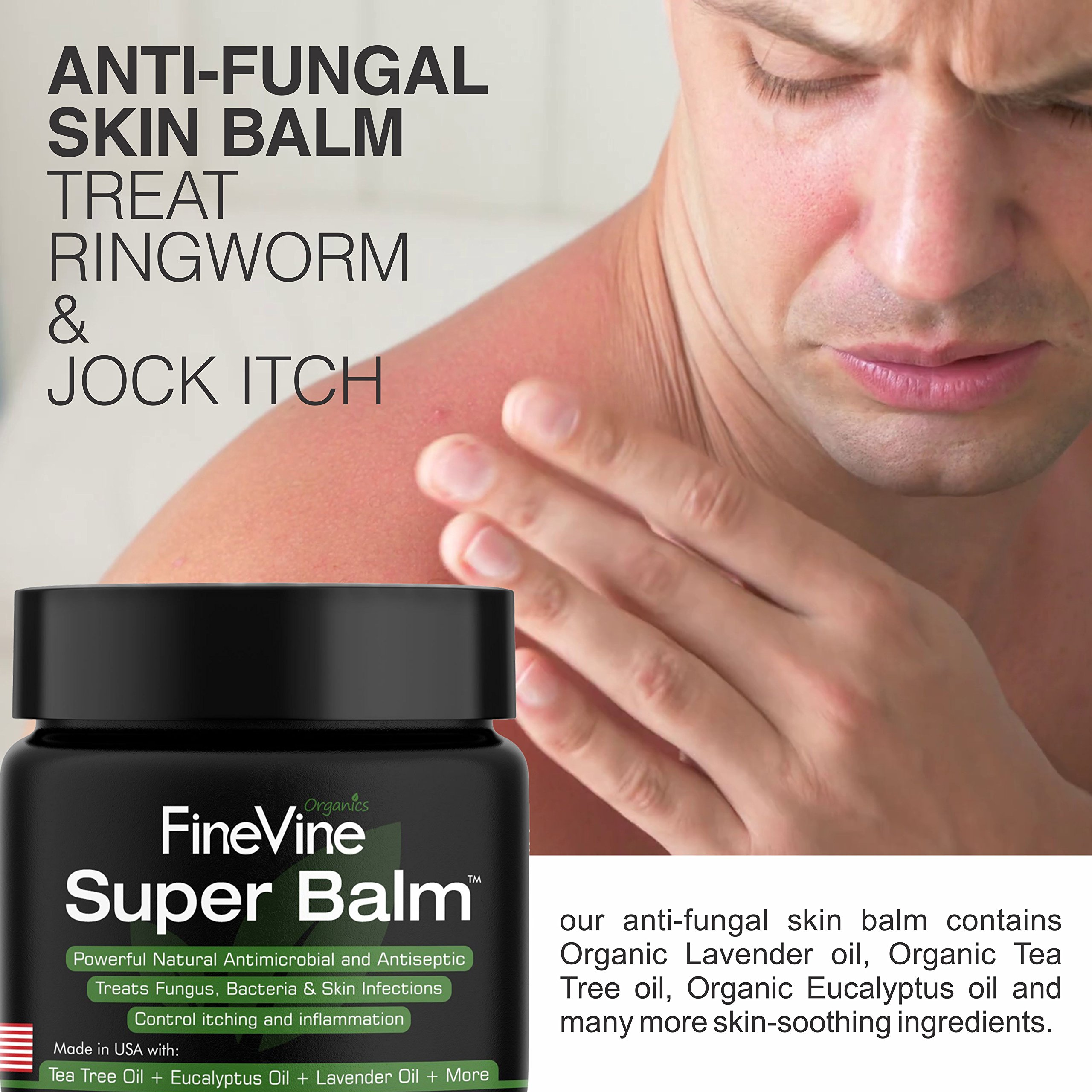 Antifungal Balm - Made in USA - Helps Treat Eczema, Ringworm, Jock Itch, Athletes Foot and Nail Fungal Infections - Best Natural Ointment to Soothes Itchy, Scaly or Cracked Skin. by FineVine (Image #2)