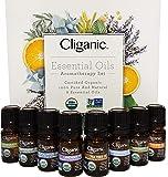 Cliganic USDA Organic Aromatherapy Essential Oils Set (Top 8), 100% Pure Natural - Peppermint, Lavender, Eucalyptus, Tea…