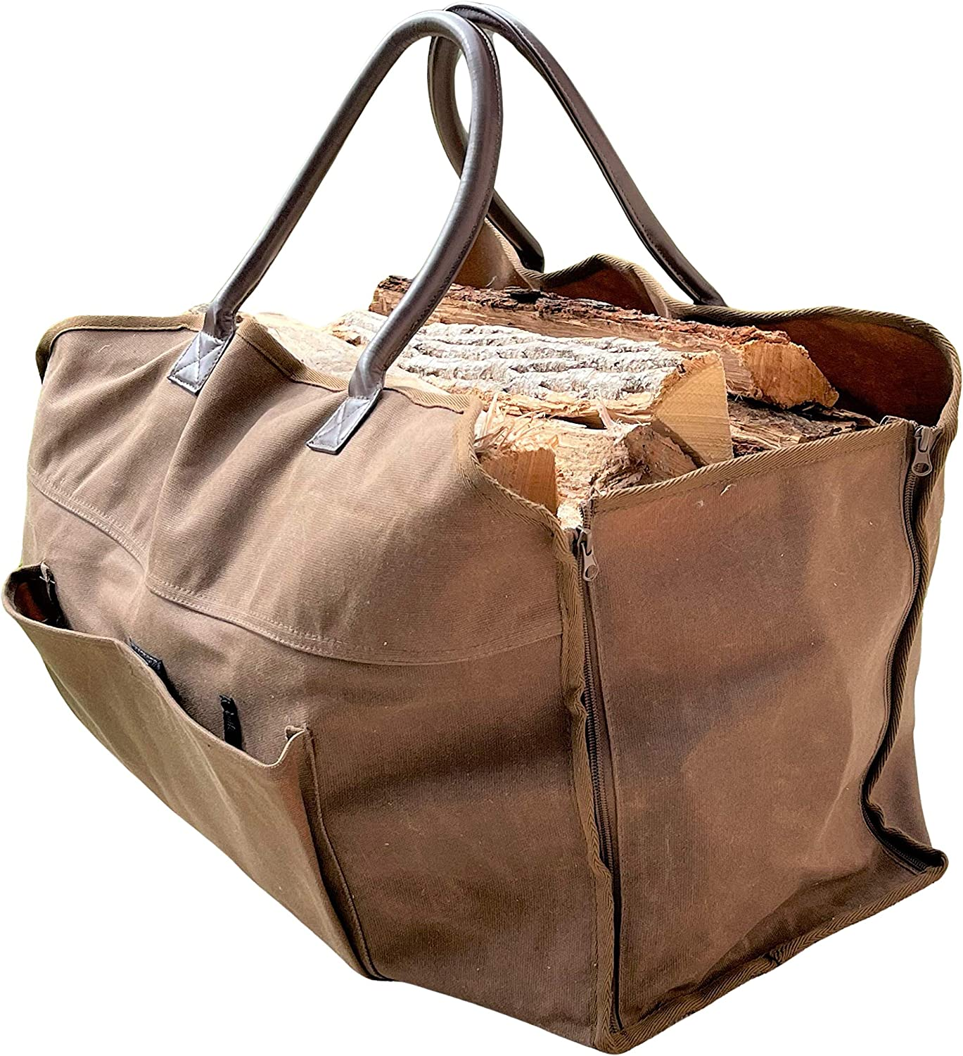Trendy Home & Garden 20oz Heavy Duty Waxed Canvas Tote Bag - Firewood Carrier Optimal BBQ Camping Accessories - Flexible Water-Resistant Coating with 4 Self-Locking Zipper