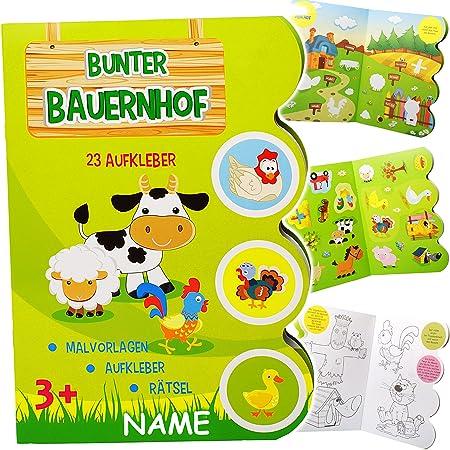 Unbekannt Grosses Malbuch Stickerheft A4 Bauernhof Tiere