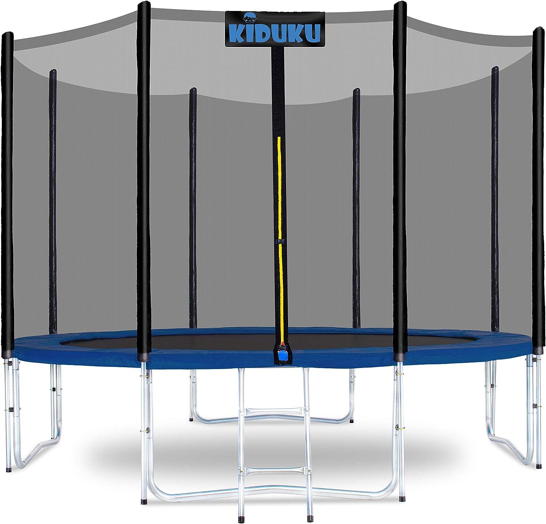 KIDUKU® Trampolín Ø 244/305 cm - Juego completo con red de seguridad, escalera, cubierta de bordes, anclaje de suelo y accesorios para exterior jardín cama elástica infantil capacidad de carga 150 kg