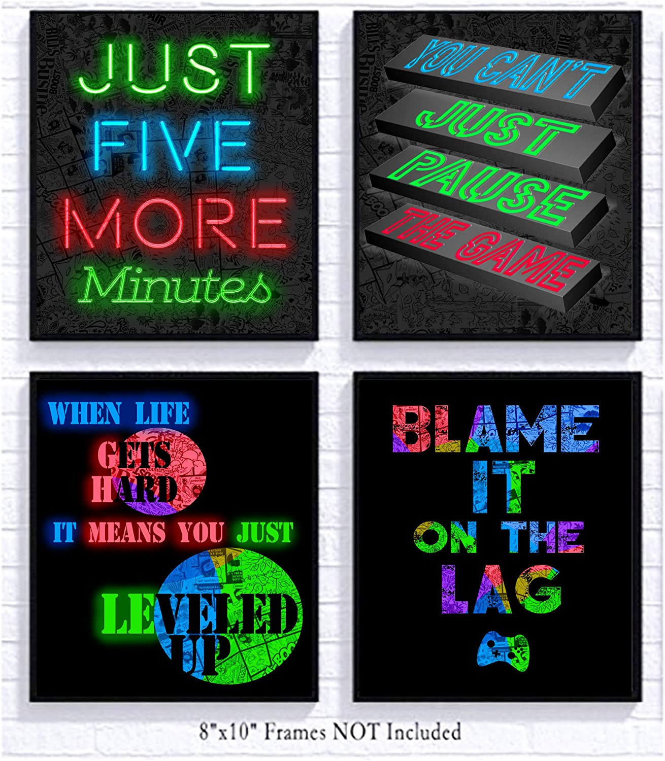 Silly Goose Gifts RGB Retro Themed Video Game Art Print Room Wall Decoration (Set or Four) Gamer Decor (Neon with Change)
