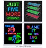 Silly Goose Gifts RGB Retro Themed Video Game Art Print Room Wall Decoration (Set or Four) Gamer Decor (Neon with Change…