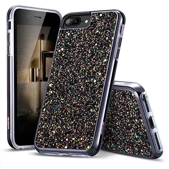 buy popular a77bf 1ff42 ESR iPhone 7 Case,iPhone 6 Case, Bling Glitter Sparkle Dual Layer  Shockproof Hard PC Back + Soft TPU Inner Shell Skin for 4.7