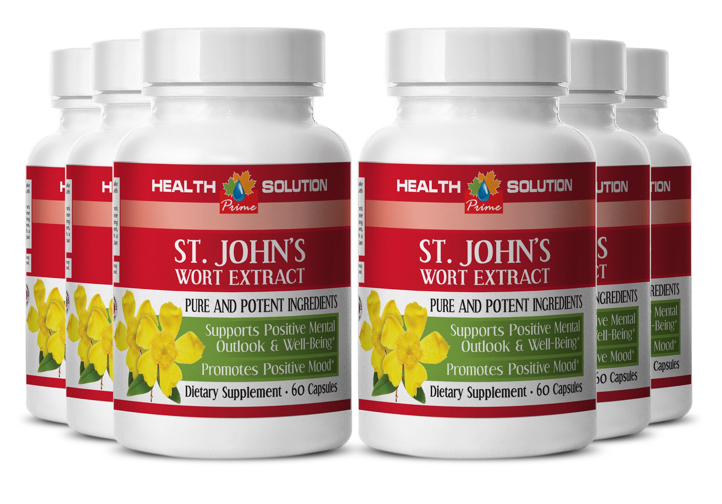 ST JOHN'S WART HERB EXTRACT With Siberian Eleutherococcus and Gingkgo Biloba - Energy booster - 6 Bottles 360 Capsules by Health Solution Prime