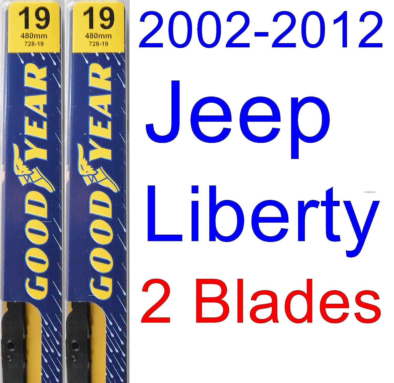 2002-2012 Jeep Liberty Replacement Wiper Blade Set/Kit (Set of 2 Blades) (Goodyear Wiper Blades-Premium) (2003,2004,2005,2006,2007,2008,2009,2010,2011)