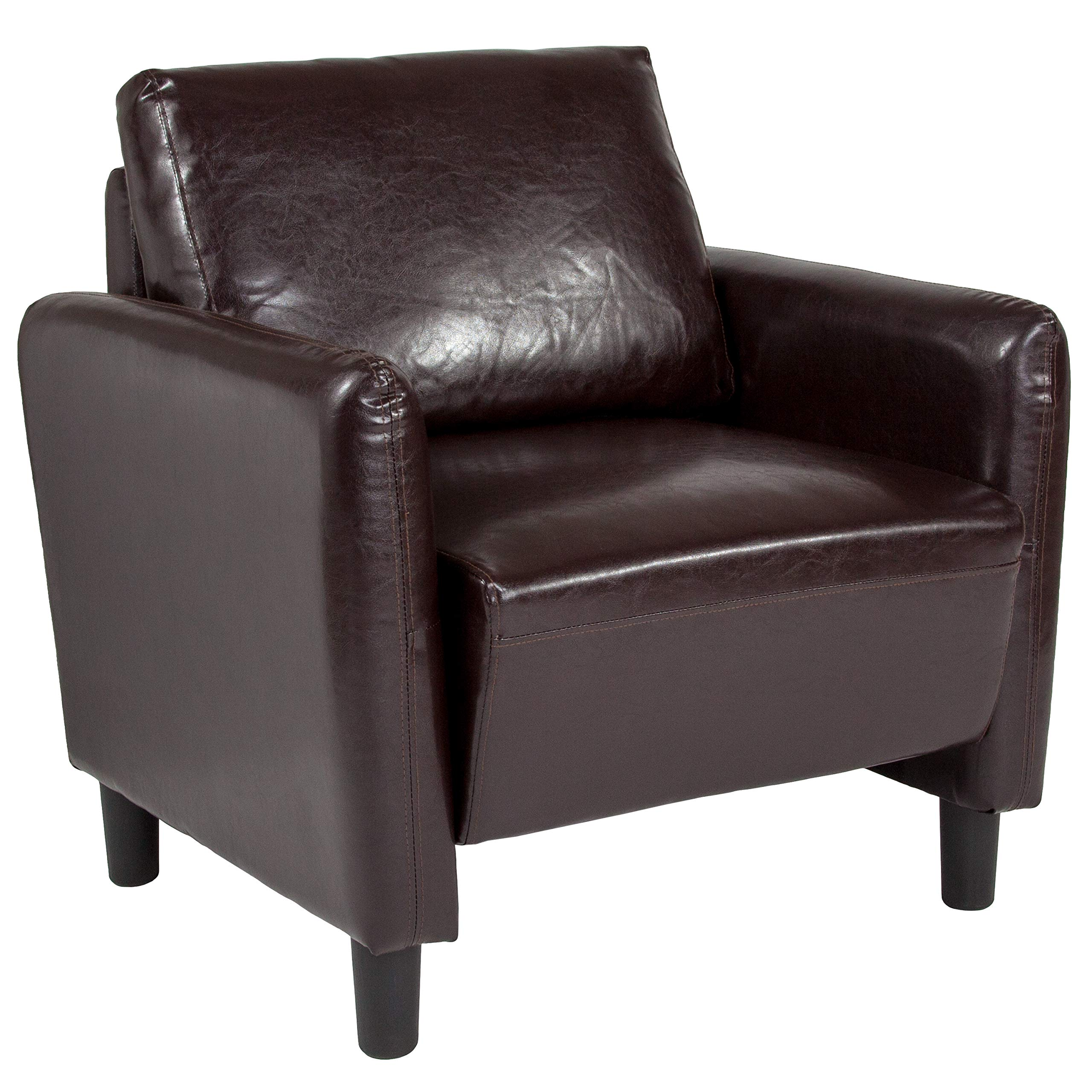 Taylor + Logan Upholstered Living Room Chair with Rounded Arms in Brown Leather