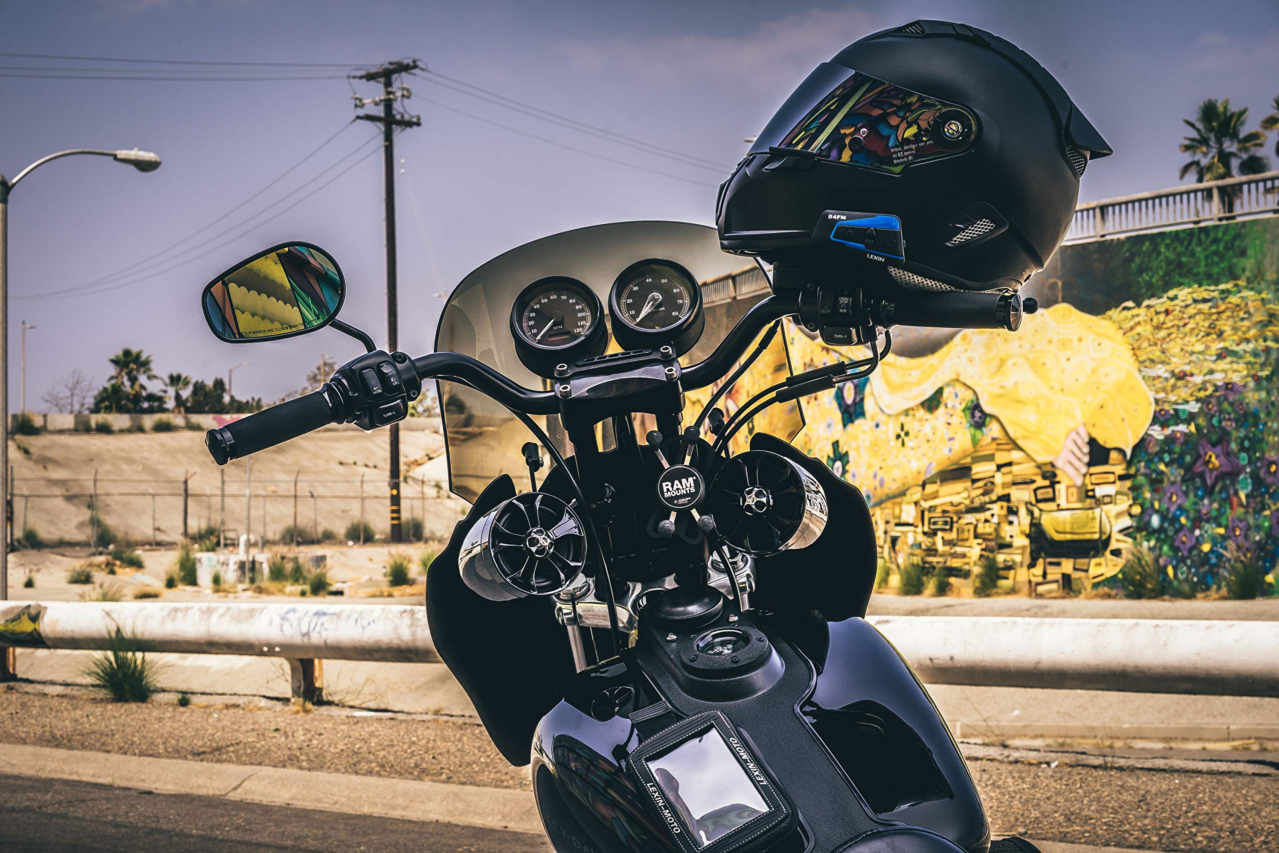 6740e46f2fa LEXIN 2x B4FM 4 Way BT Interphone Bluetooth Motorcycle Helmet Intercom,  Universal Wireless Headset, Motorbike Communication System with Speakers  headphones ...