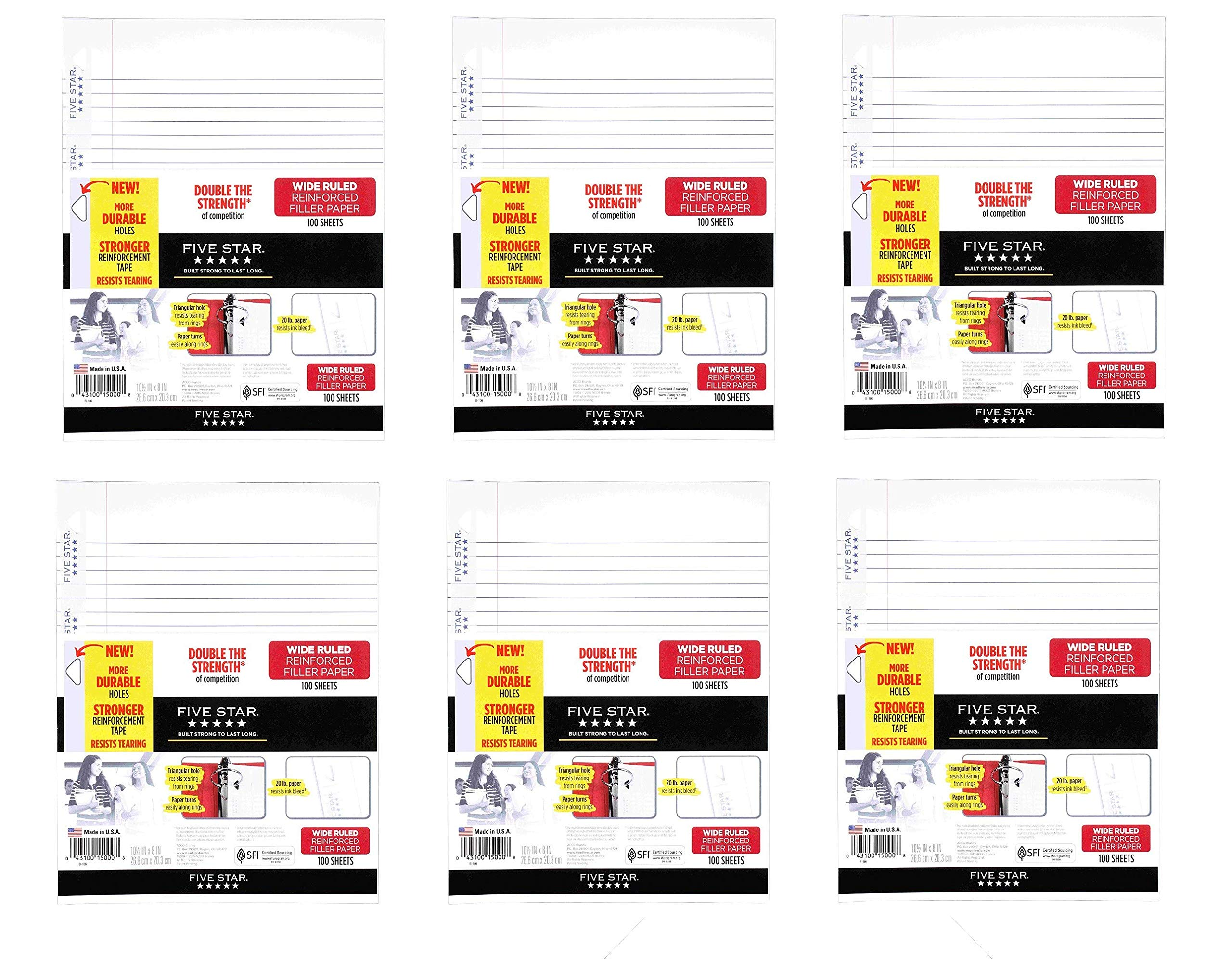 Five Star Filler Paper, Wide Ruled, Reinforced, Loose Leaf Paper, 10.5 x 8, 100 Sheets/Pack, Sold as 6 Pack by Five Star