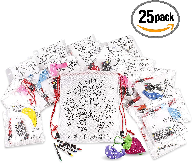 30 Bustine singole con 5 Colori a Cera e un Palloncino Borsa Riutilizzabile 30 Zainetti da Colorare Regalo per bambini per le feste e i compleanni