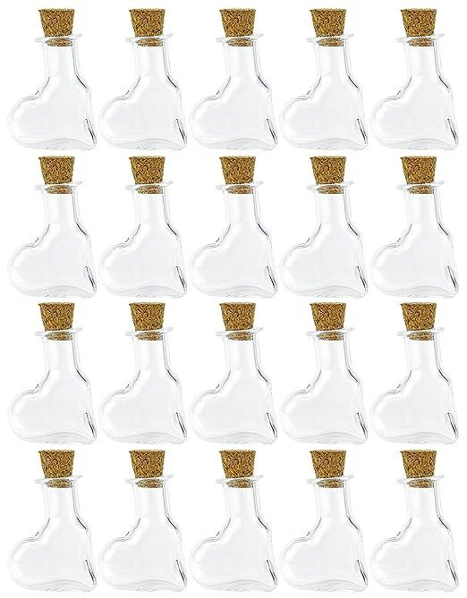 FiveSeasonStuff 20 piezas Mini Botellas de Vidrio Transparente, Deseando Botellas, Botellas de Deriva, Viales con tapones de corcho para perfumes, aromas, ...