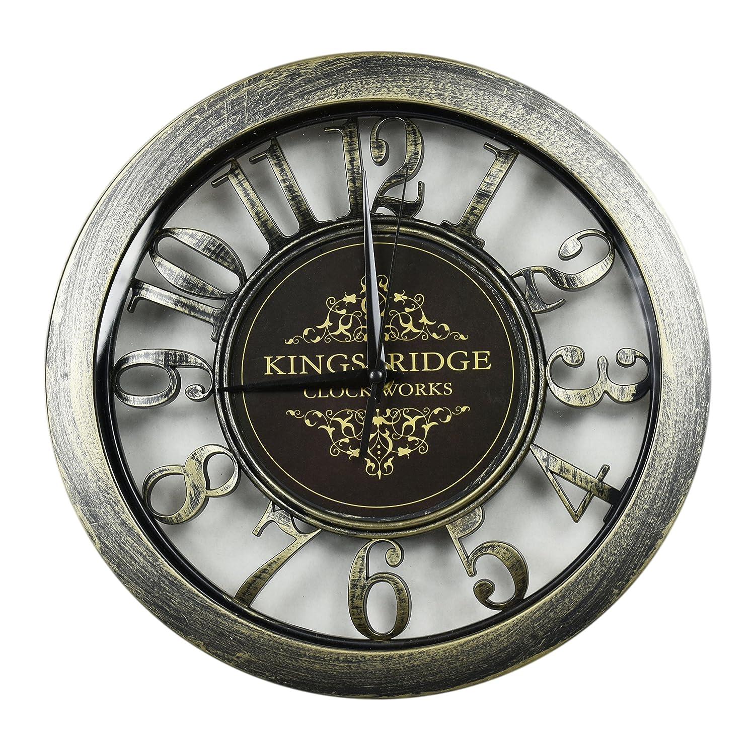 Single KingsBridge ClockWorks 11 Analog Wall Clock 1 Painted Brushed Dark Brass Classy Design