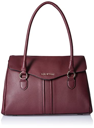 Aquatan Women's You & Me Music Large Leather Shoulder Bag Aubergine AT-L-16