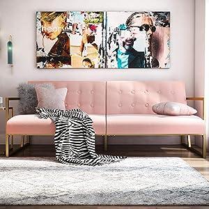 CosmoLiving by Cosmopolitan Lexington Modern, Gold Frame & Pink Velvet Upholstery Futon, Pink
