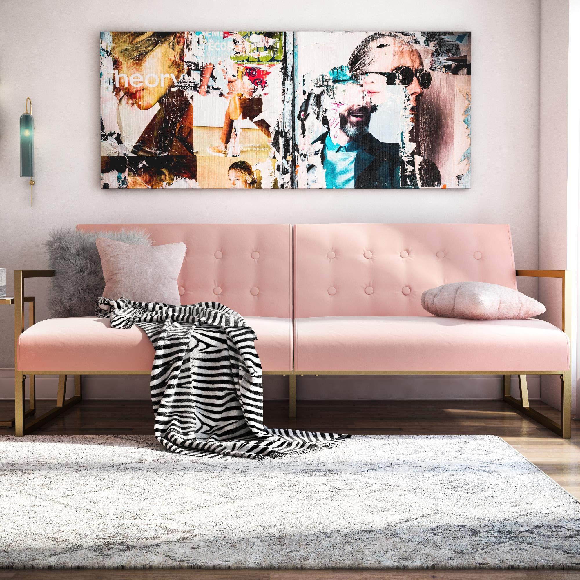CosmoLiving by Cosmopolitan Lexington Modern, Gold Frame & Pink Velvet Upholstery Futon, Pink by CosmoLiving by Cosmopolitan