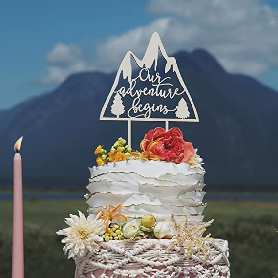 Our Adventure Begins Wedding Cake Topper Unique Wedding