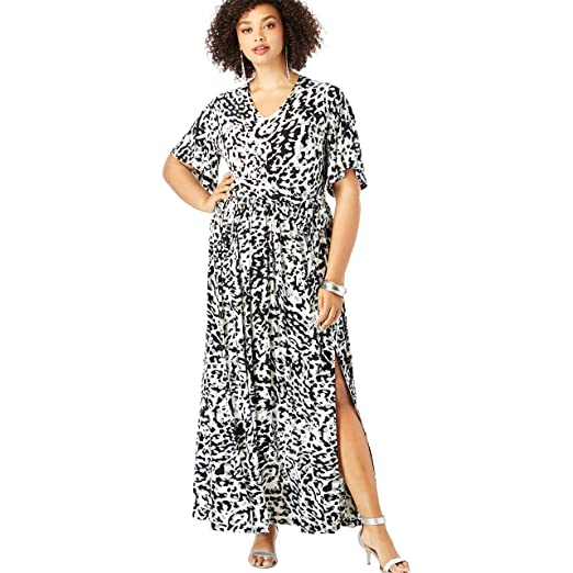 Roamans Women\'s Plus Size Belted Maxi Dress with Flutter Sleeves at ...
