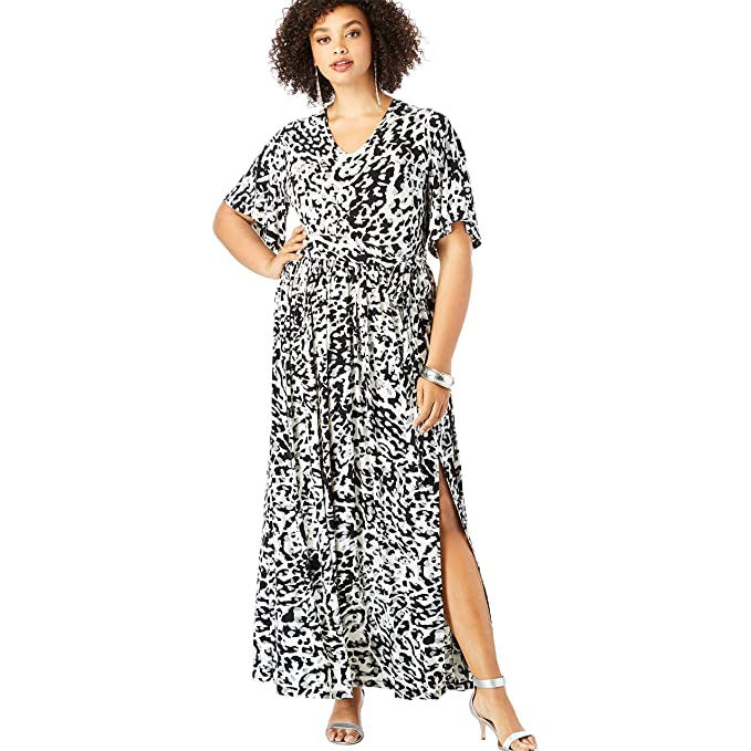 Roamans Women\'s Plus Size Belted Maxi Dress with Flutter ...
