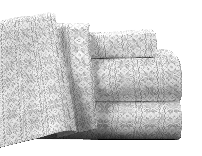 Pointehaven Flannel Deep Pocket Sheet Set with Oversized Flat Sheet, Twin, Fair Isle Safah Inc. FP175-T-FRI