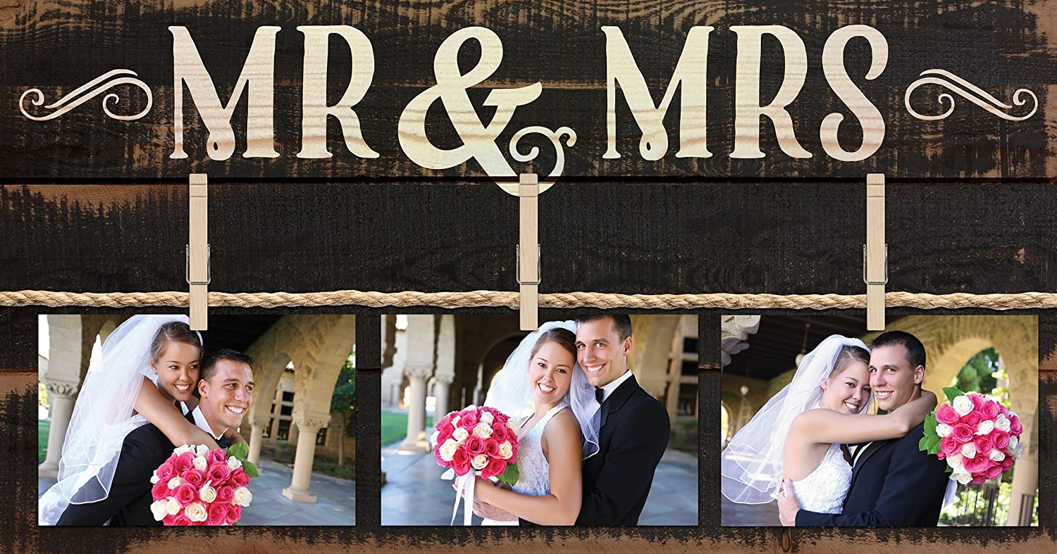 P. GRAHAM DUNN Mr & Mrs Rustic 3 Photo 11 x 20 Wall Sign Picture Frame Collage with Clothespins