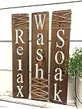 Rustic Bathroom Signs - Farmhouse Bathroom Decor - Soak Wash Relax
