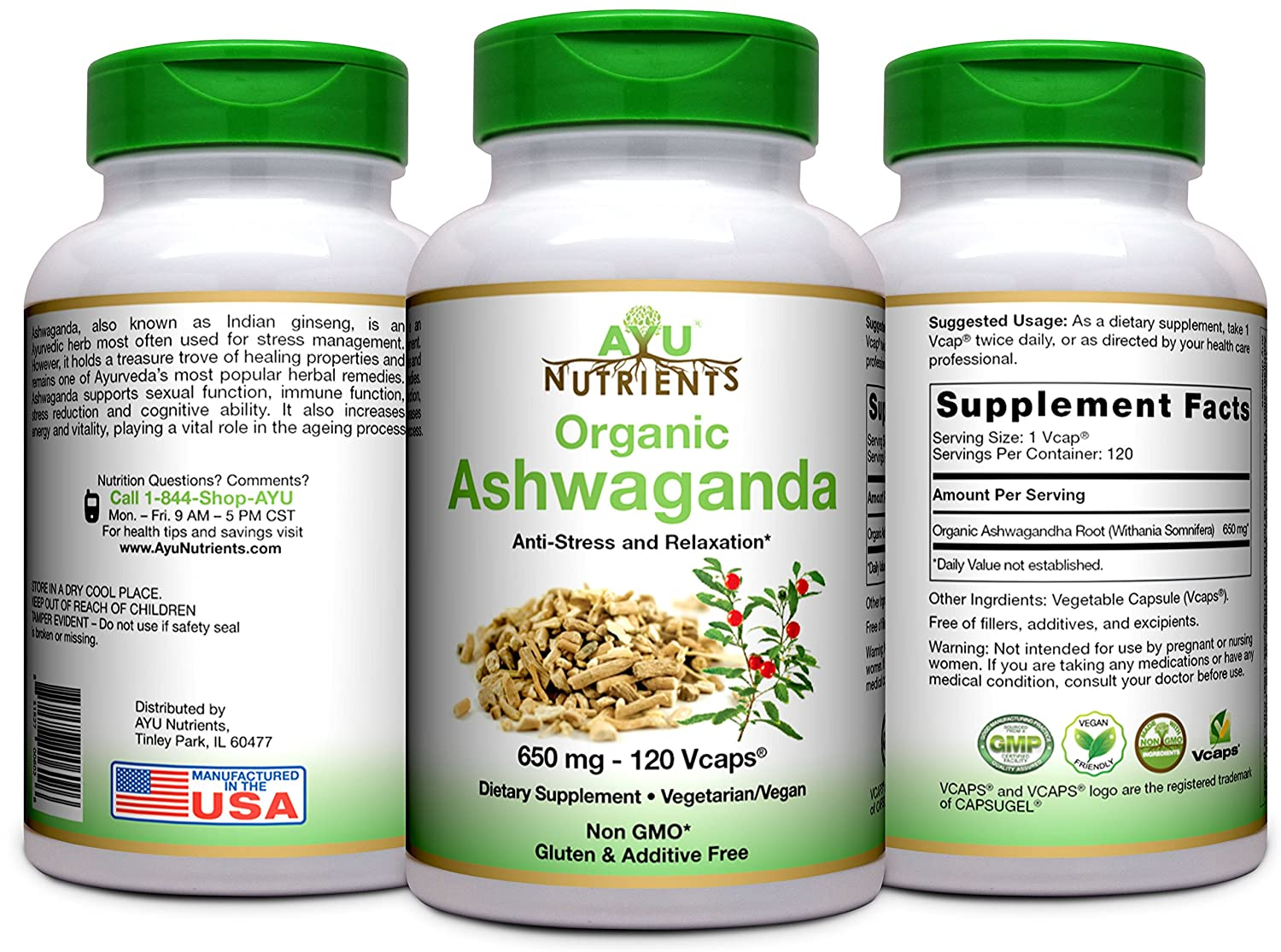Amazon.com: AyuNutrients Organic Ashwagandha -650 MG-2 Veggie Capsules Per Serving -120 Count | Made in USA | Supports Resistance to Fatigue,Relieve Stress, ...