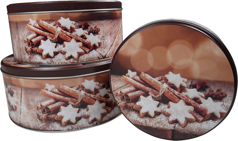 flach marrone khevga biscottiera di Natale in latta