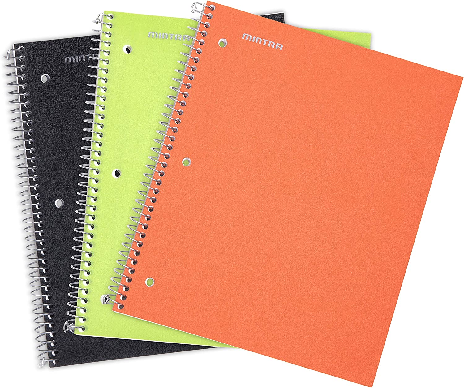 Mintra Office Durable Spiral Notebooks, 1 Subject, 100 Sheets, Poly Pocket, Moisture Resistant Cover, School, Office, Business, Professional (Black, Orange, Green Wide Ruled 3pk)