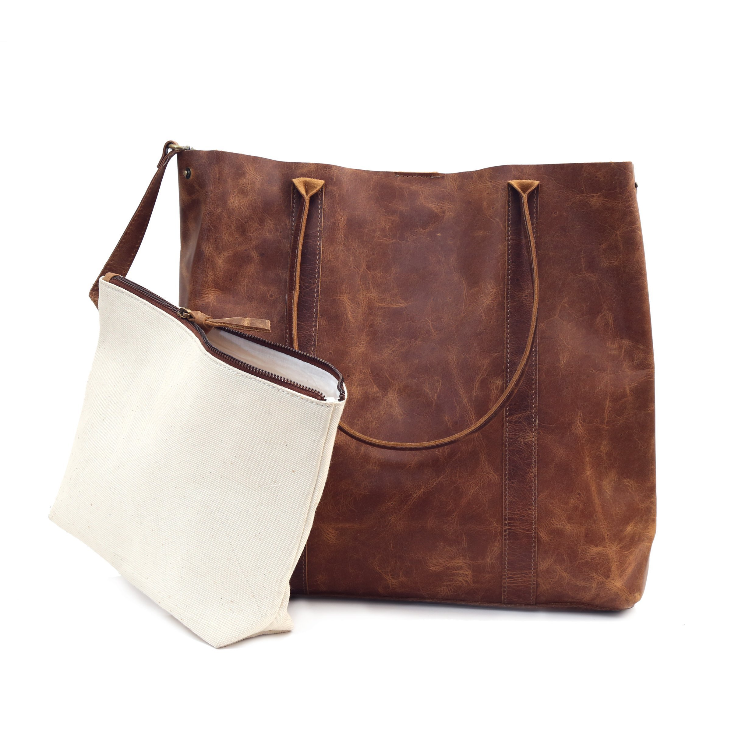 Brown Distressed Leather Tote Handle Shoulder Bag Women