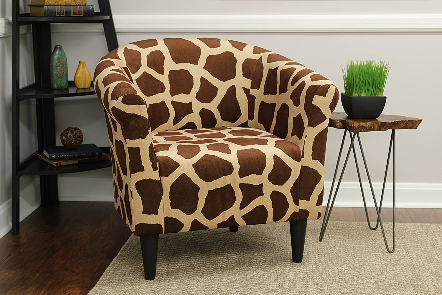Amazon Com Mainstays Marlee Animal Printed Bucket Accent Chair Giraffe Animal Print Health Personal Care
