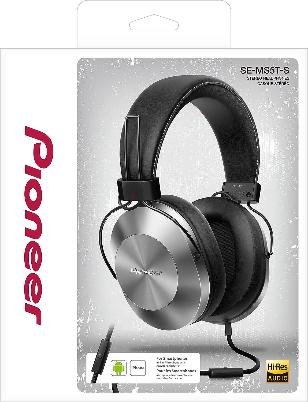Pioneer SE-MS5T-S - Auriculares de tipo diadema (HiRes, power bass, micrófono, control de Smartphone), colo Plateado: Amazon.es: Electrónica