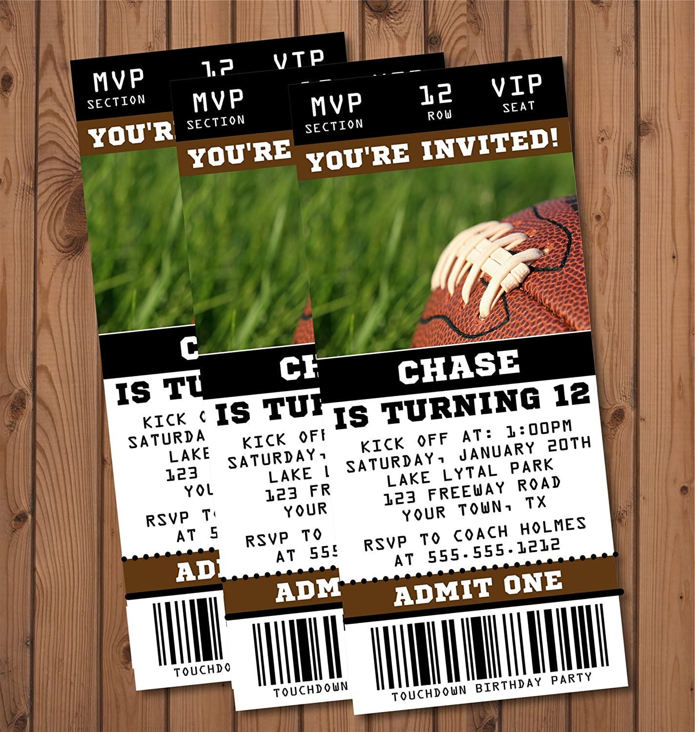 Football Birthday Party Ticket Invitations