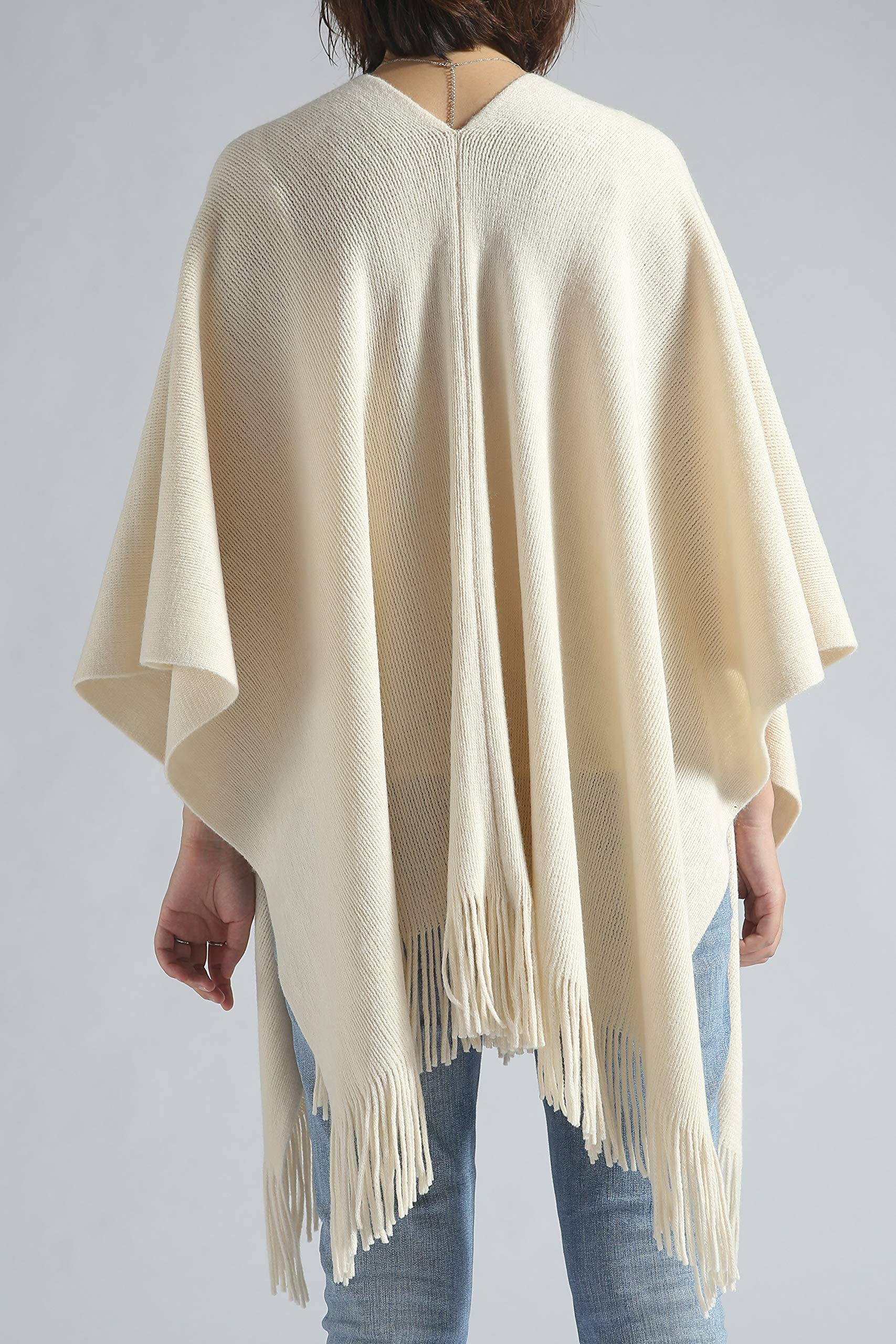 Women Poncho Shawl Cardigan Open Front Elegant Cape Wrap by Moss Rose (Image #6)