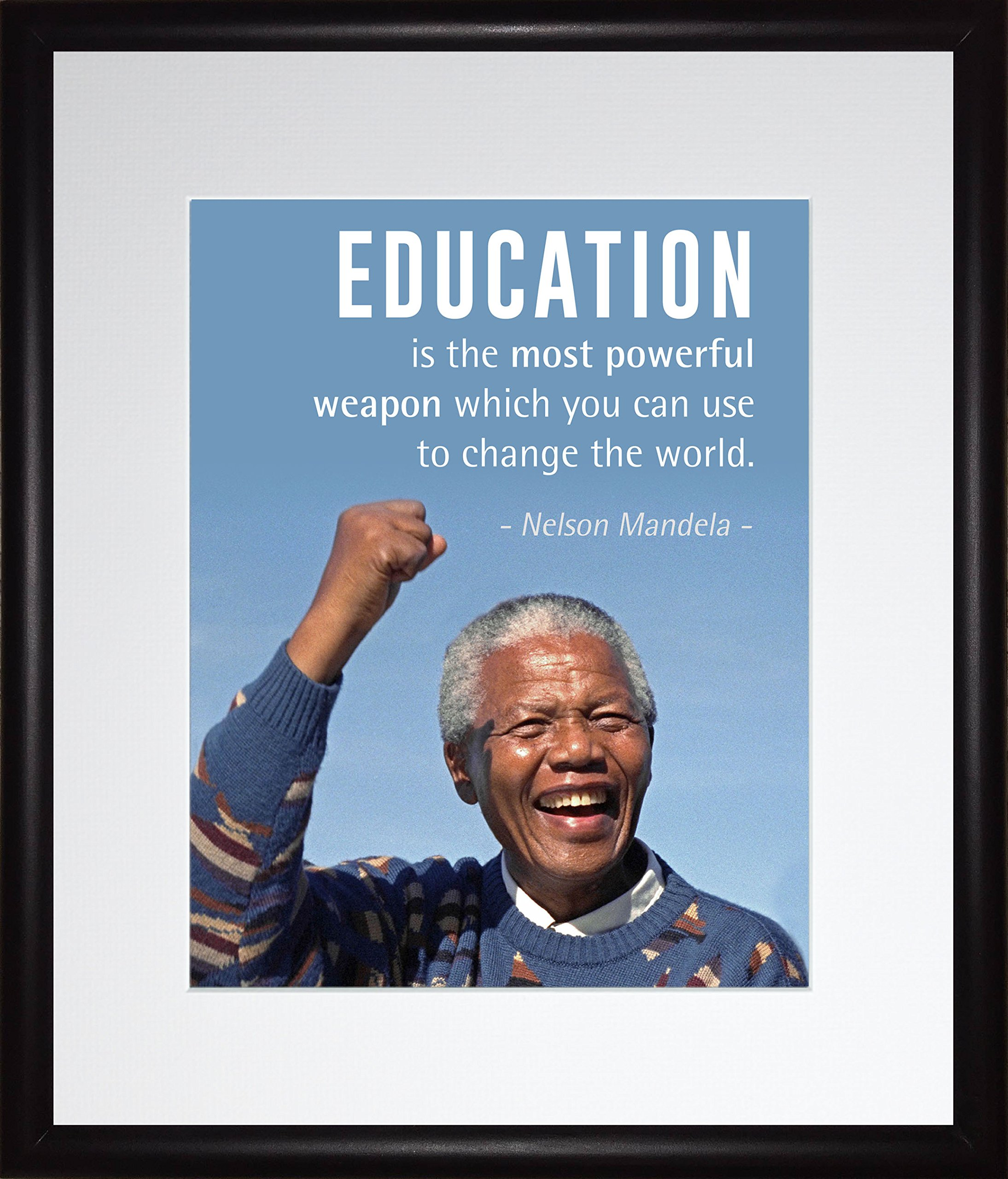 Nelson Mandela Quote ''Education is the most powerful weapon'' | Motivational Poster, Print, Picture or Framed Wall Art Decor - Inspirational Quotes Collection - Christmas Gifts (11x13 Framed)
