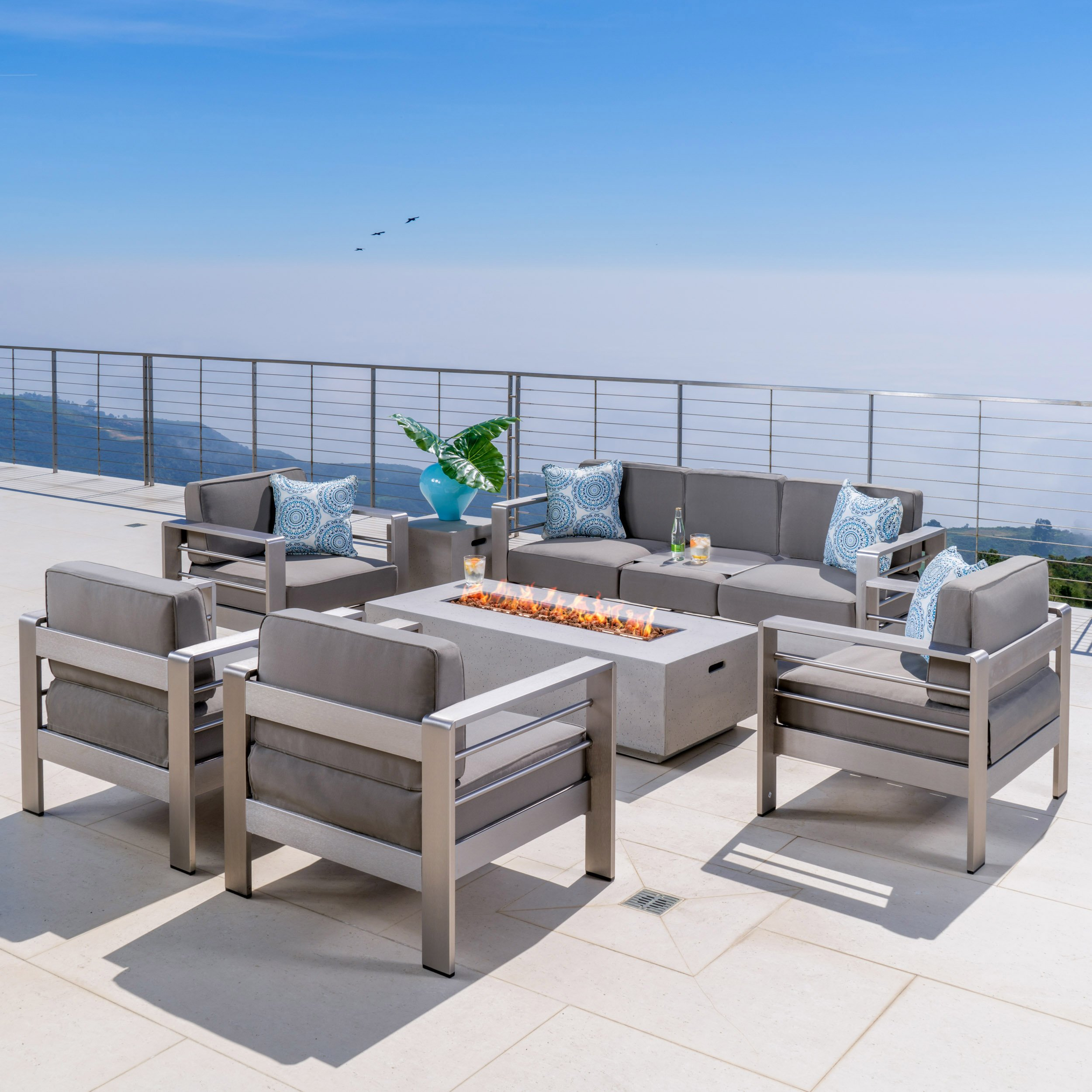 Crested Bay Patio Furniture ~ 5 Piece Outdoor Patio Chair and Sofa Set with Propane (Gas) Fire Table (Pit) (Light Grey) by GDF Studio