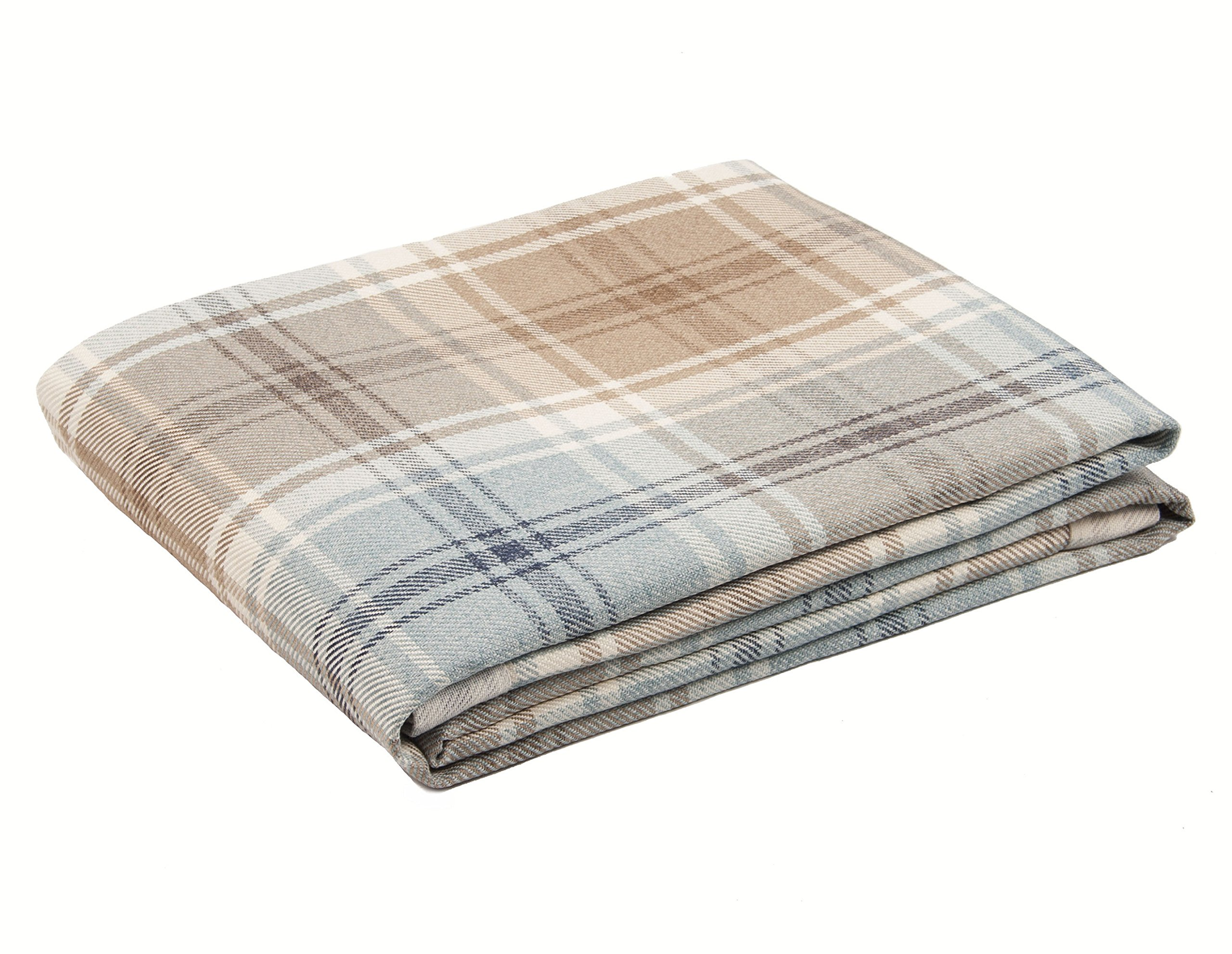 McAlister Angus XX-Large Decorative Throw Blanket | 105x150'' Sky Blue & White | Burlap-Texture Buffalo Plaid | Tartan Check Farmhouse Accent Décor