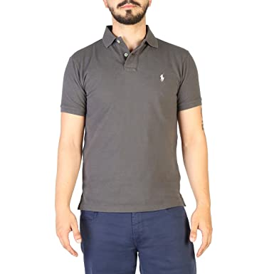 39d0b591 RALPH LAUREN Polo Shirt in Dark Gray Cotton, Mens. at Amazon Men's ...