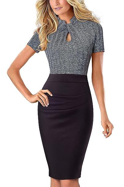 5a6a5292aac49 HOMEYEE Women's Short Sleeve Business Church Dress B430