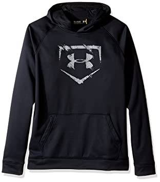 under armour youth hoodie. under armour boys\u0027 baseball logo hoodie, black/baseball gray, youth x- hoodie l