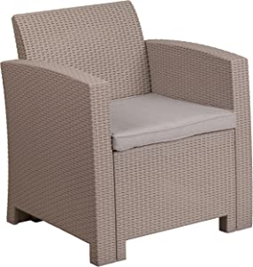 Flash Furniture Light Gray Faux Rattan Chair with All-Weather Light Gray Cushion