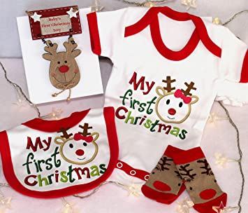 Baby\'s first Christmas gift box, soft cotton 1st Christmas top ...
