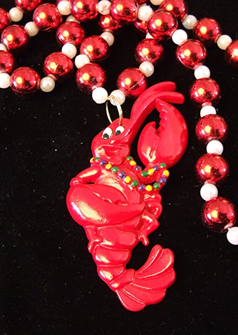 Mardi Gras Beads w//Crawfish Medallion 3 Per Pack Mardi Gras Party Decorations