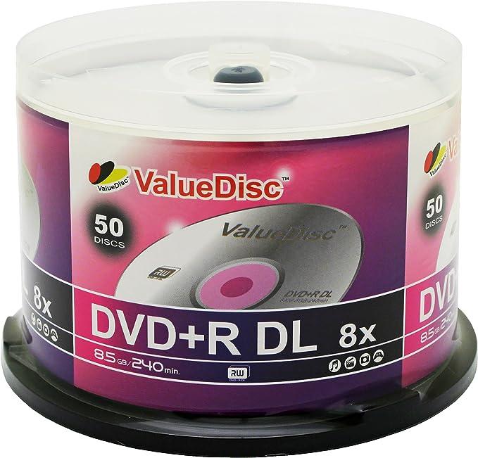 Valor Disco doble capa DVD + R 50PK en eje (caja para pastel): Amazon.es: Electrónica